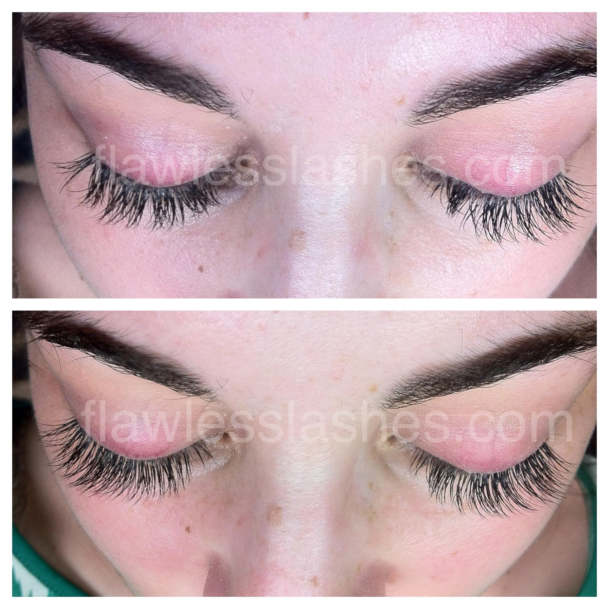 Eyelash extensions after 2 weeks (top) and after touch up (bottom).